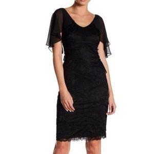 Marina Tiered Lace Cape Sheath Dress
